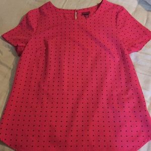 Pink with blue polka dots short sleeve blouse